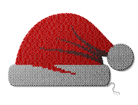silvester: Santa Claus hat of knitted fabric isolated on white. Fragment of knitting in shape of red christmas hat. Vector image for christmas, new years day, decoration, winter holiday, costume, silvester, etc