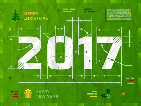 new year eve: New Year 2017 as technical blueprint drawing. Drafting of 2017 on crumpled paper. Vector illustration for new years day, christmas, winter holiday, new years eve, engineering, silvester, etc Illustration