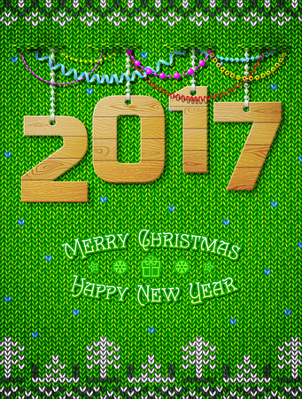 stockinet: New Year 2017 of wood as christmas decoration. Christmas congratulation against knitted background. Vector illustration for new years day, christmas, winter holiday, new years eve, silvester, etc