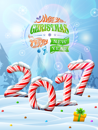 sweetstuff: New Year 2017 in shape of candy stick in snow. Winter landscape with candies, gift box, congratulation. Vector image for new years day, christmas, sweet-stuff, winter holiday, new years eve, food, etc Illustration