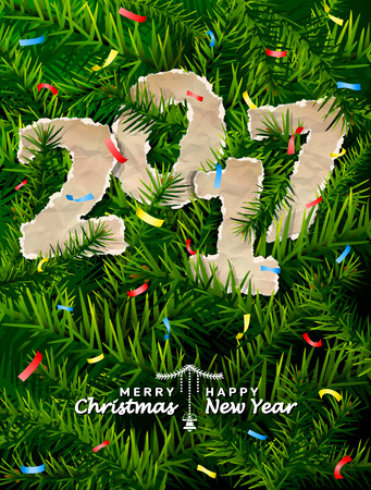 new year eve: New Year 2017 of crumpled paper between pine twigs. Paper year numbers is strewn with confetti on christmas tree. Vector image for new years day, christmas, winter holiday, new years eve, silvester