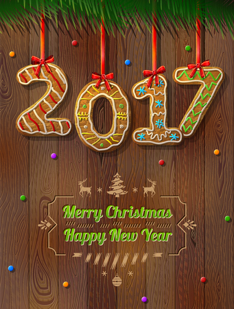 silvester: New Year 2017 in shape of gingerbread against wood background. Year number like cookies on ribbon. Vector illustration for christmas, new years day, cooking, winter holiday, food, silvester, etc Illustration