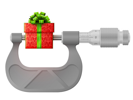 Horizontal micrometer measures gift. Concept of gift box and measuring tool. Qualitative vector illustration for holiday, packaging supplies, congratulation, gift wrapping, packaging, etc