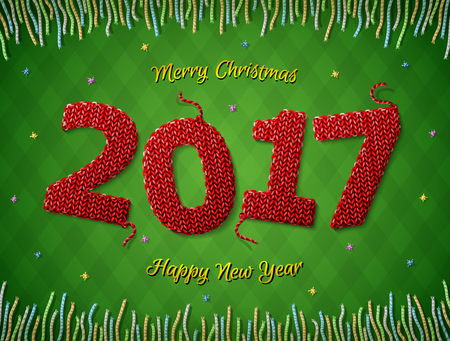 knit: New Year 2017 in shape of knitted fabric on checkered background. Christmas wishes surrounded by colored threads. Vector image for new years day, christmas, winter holiday, new years eve, silvester