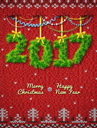 New Year 2017 of twigs as christmas decoration. Christmas congratulation against knitted background. Vector illustration for new years day, christmas, winter holiday, new years eve, silvester, etc
