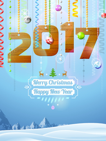 New Year 2017 of wood like christmas decoration. Winter landscape with christmas congratulation. Vector illustration for new years day, christmas, winter holiday, new years eve, silvester, etc Illustration