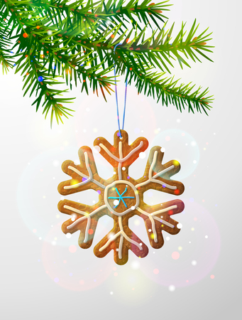 Christmas tree branch with decorative cookie. Gingerbread snowflake symbol hanging on pine twig. Vector image for new years day, christmas, winter holiday, decoration, new years eve, design, etc Illustration