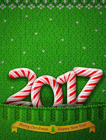 sweetstuff: New Year 2017 in shape of candy stick in knitted pocket. Sweater fragment with year number as holiday candies. Vector image for new years day, christmas, sweet-stuff, winter holiday, new years eve