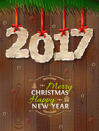 torn edge: New Year 2017 of crumpled paper against wood background. Paper numbers with torn edge on ribbon. Vector illustration for new years day, christmas, winter holiday, new years eve, silvester, etc Illustration