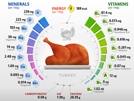 Vitamins and minerals of roast turkey. Infographics about nutrients in cooked turkey meat. Qualitative vector illustration for turkey, vitamins, poultry meat, health food, nutrients, diet, etc Imagens - 68117083