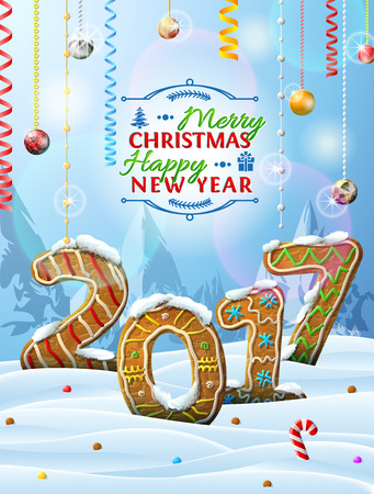 holiday food: New Year 2017 in shape of gingerbreads in snow. Winter landscape with cookies, christmas decoration, congratulation. Vector image for christmas, new years day, cooking, winter holiday, food, silvester Illustration