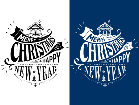 inkle: Merry Christmas, Happy New Year lettering logo design. Holiday wishes in black and white color. Vector image for christmas, new years day, greeting card, winter holiday, label, new years eve, banner