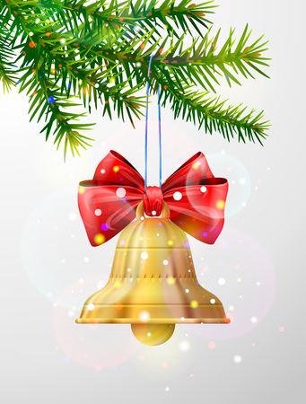 Christmas tree branch with golden jingle bell. Christmas bell with red bow hanging on pine twig. Vector image for christmas, new years day, decoration, winter holiday, design, new years eve, etc