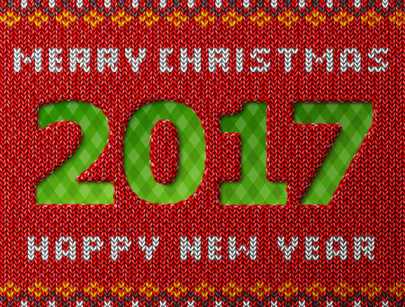 New Year 2017 as hole in knitted background. Fragment of knitwear with year number and holiday wishes. Vector illustration for new years day, christmas, winter holiday, new years eve, knitting, etc Illustration