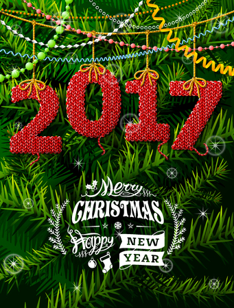 spruce thread: New Year 2017 in shape of knitted fabric against pine branches. Christmas wishes with decoration. Vector illustration for new years day, christmas, winter holiday, new years eve, silvester, etc