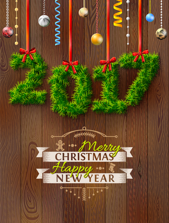 siding: New Year 2017 of twigs like christmas decoration. Christmas congratulation against wood background. Vector illustration for new years day, christmas, winter holiday, new years eve, silvester, etc