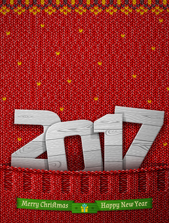 joinery: New Year 2017 of wood in knitted pocket. Jumper fragment with wooden year number and christmas wishes. Vector illustration for new years day, christmas, winter holiday, new years eve, silvester, etc Illustration