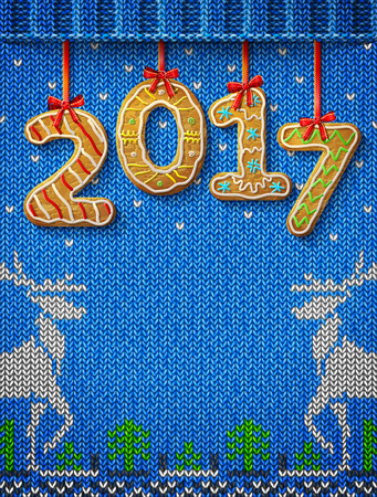 stockinet: New Year 2017 in shape of gingerbread against knitted background. Year number like cookies on ribbon. Vector illustration for christmas, new years day, cooking, winter holiday, food, silvester, etc Illustration