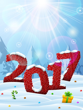 irradiation: New Year 2017 in shape of knitted fabric in snow. Winter landscape with year number, top lighting. Vector illustration for new years day, christmas, winter holiday, knitting, new years eve, silvester