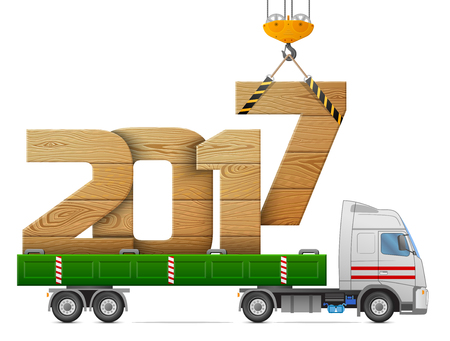 Crane loads New Year 2017 of wood. Big wooden year number in back of truck. Vector illustration for new years day, christmas, transportation, winter holiday, new years eve, trucking, silvester, etc