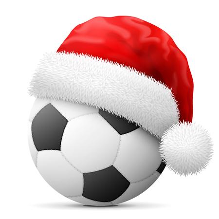 asociacion: balón de fútbol en rojo sombrero de Santa Claus. sombrero de la Navidad se pone en la pelota de fútbol asociación. ilustración vectorial para navidad, fútbol, ??Día de Año Nuevo, el deporte, la decoración, noche vieja, vacaciones de invierno, etc. Vectores