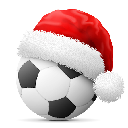 Soccer ball in red Santa Claus hat. Christmas hat is put on association football ball. Vector illustration for christmas, soccer, new years day, sport, decoration, new years eve, winter holiday , etc
