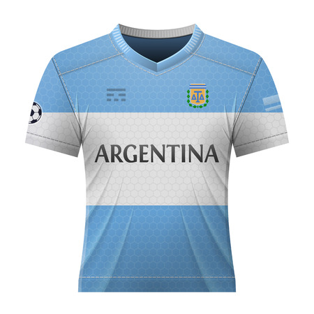 activewear: Soccer shirt in colors of argentinean flag. National jersey for football team of Argentina. Vector illustration about soccer, sport game, football, championship, national team, gameplay, etc