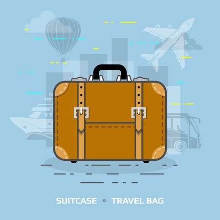 valise: Flat illustration of suitcase against blue background. Flat design of travel bag, front view. Qualitative vector illustration about travel, luggage, tourism, accessory, vacation, baggage, trip, etc