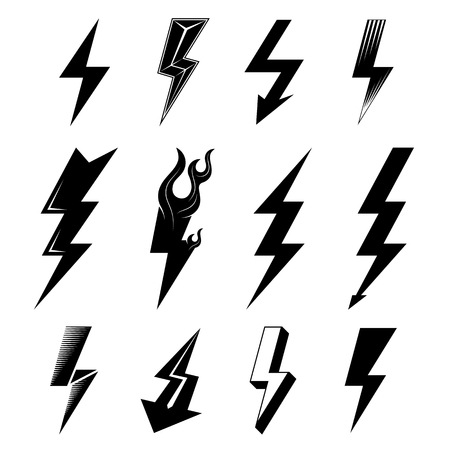 rapidity: Icon set of lightnings in black-and-white colors. Graphic symbols collection of lightning bolt. Qualitative vector signs for weather, design, science, electricity, energy, danger, speed, etc Illustration