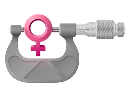 maturation: Horizontal micrometer measures female symbol.