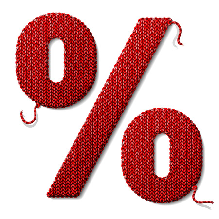quota: Percent symbol of knitted fabric isolated on white. Fragment of knitting in shape of percentage sign.