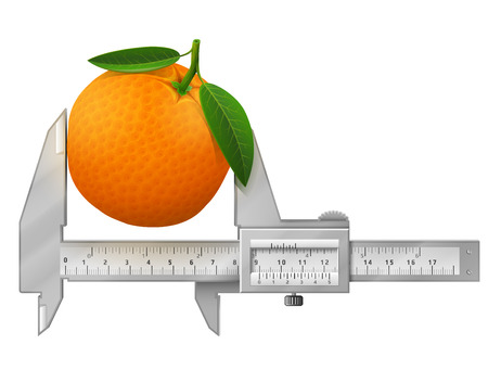 Horizontal caliper measures orange fruit. Concept of orange with leaves and measuring tool. Qualitative vector illustration for fruits, agriculture, cooking, farming, gastronomy, gardening, etc Ilustrace