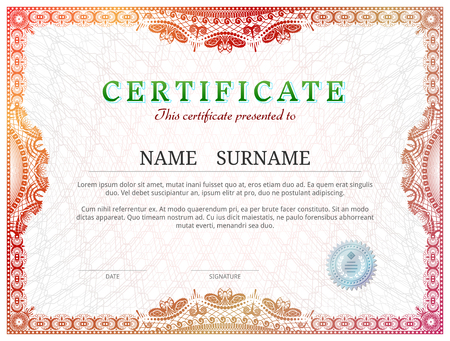 backcloth: Certificate template with guilloche elements. Red diploma border design for personal conferment. Vector illustration for award, patent, validation, license, education, authentication, achievement, etc