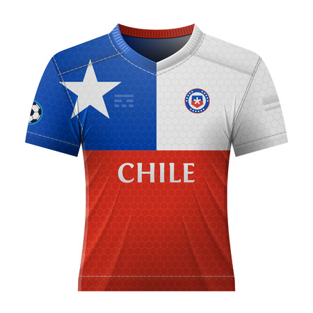 activewear: Soccer shirt in colors of chilean flag. National jersey for football team of Chile. Qualitative vector illustration about soccer, sport game, football, championship, national team, gameplay, etc