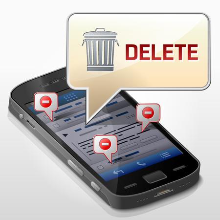 Smartphone avec bulle de message sur la suppression de données. La boîte de dialogue s'affiche sur l'écran du téléphone. Illustration vectorielle qualitative sur smartphone, suppression de fichiers, technologie mobile, effacement, notification, etc. Vecteurs