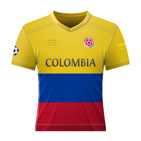 Soccer shirt in colors of colombian flag. National jersey for football team of Colombia. Best vector illustration for soccer, sport game, football, championship, national team, gameplay, etc