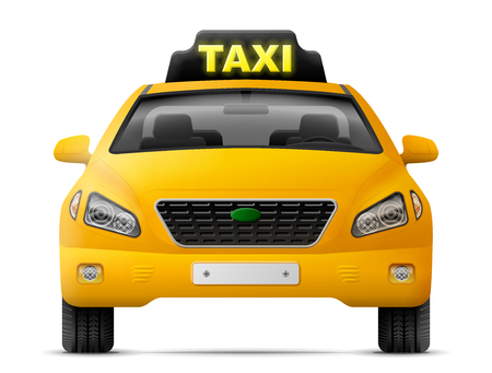 hackney carriage: Yellow taxi car isolated on white background. Modern taxi cab, front view. Qualitative vector image about transport, taxi service, transfer, passenger transportation, vehicle, hackney carriage Illustration