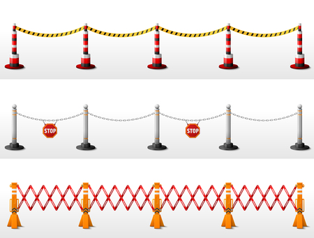 Different types of safety barriers. Crowd control stanchions with tape, bollards with chain, expandable barricade. Best vector illustration for security, protection, enclosure, fencing, etc Illustration