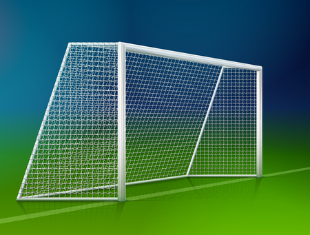 Soccer goal post with net, side view. Association football goal on field. Best vector illustration for soccer, sport game, football, championship, gameplay, etc Illustration