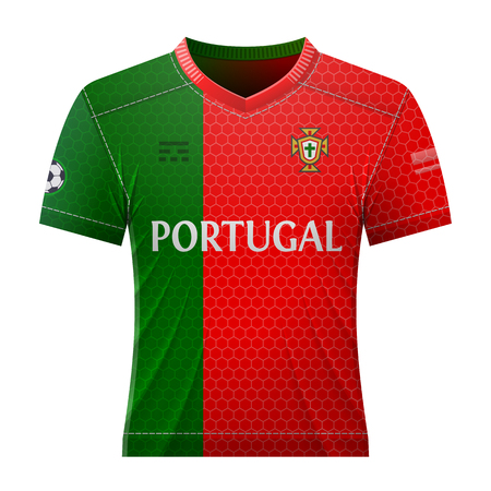 activewear: Soccer shirt in colors of portuguese flag. National jersey for football team of Portugal. Best vector illustration for soccer, sport game, football, championship, national team, gameplay, etc