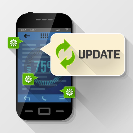 tooltip: Smartphone with message bubble about update. Dialog box pop up over screen of phone. Best vector image about smartphone, communication, mobile technology, notification, application prompting, etc