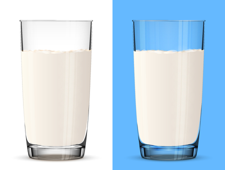 glass cup: Glass of milk isolated on white background. Cow milk in glass cup close up. Best vector illustration for milk, food service, dairy, beverages, gastronomy, health food, etc