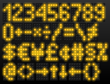 Led digital font based on dot-matrix technology. Set of scoreboard numbers and symbols. Vector typeface for airport schedules, display, train timetables, scoreboard, variable message sign
