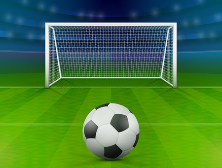 Soccer ball on green field in front of goal post. Association football ball against soccer stadium. Best vector illustration for soccer, sport game, football, championship, gameplay, etc Stock Illustratie