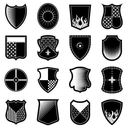 Icon set of shields in black-and-white colors. Heraldic crest shape collection. Best vector element for coat of arms, design, logo, heraldry, emblem, security, tattoo, etc