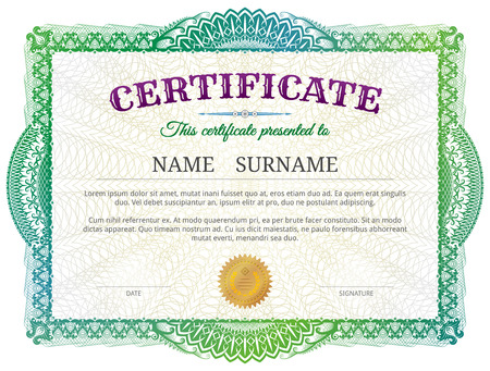 Certificate template with guilloche elements. Green diploma border design for personal conferment. Best vector image for award, patent, validation, license, education, authentication, achievement, etc