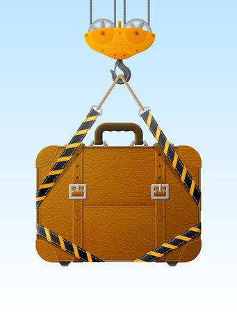 lading: Suitcase hanging on crane hook. Lifting hook raises travel bag with slings. Best vector illustration about travel, luggage, tourism, accessory, vacation, baggage, trip, etc