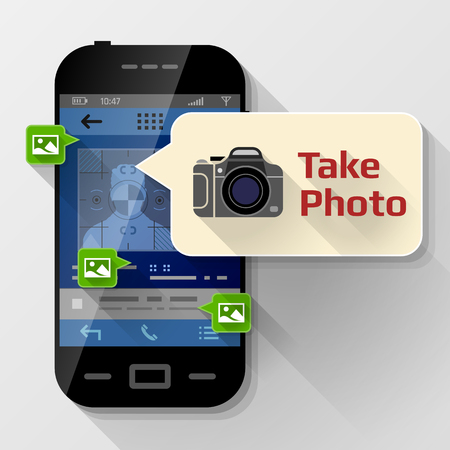 Smartphone with message bubble about photographing. Dialog box pop up over screen of phone. Best vector image about smartphone, photography, mobile technology, notification, application prompting, etc
