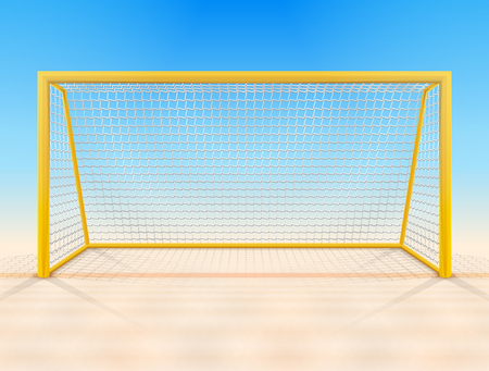 Beach soccer goal post with net, front view. Beach football goal on sand field. Best vector illustration for soccer, sport game, football, championship, gameplay, etc