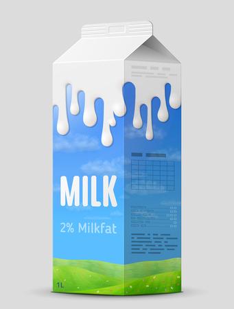 Melkgable hoogste karton dichte omhooggaand. Koemelkpakket dat op grijs wordt geïsoleerd. Beste vectorillustratie voor melk, foodservice, zuivel, dranken, gastronomie, gezondheid van voedsel, enz